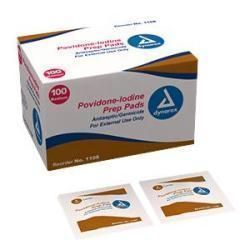 Dynarex Povidone Iodine Prep Pad Medium, Saturated With 10% Povidone Iodine Solution