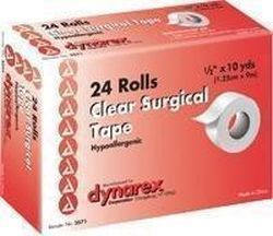 Dynarex Hypoallergenic Transparent Surgical Tape, Highly Porous, Latex Free 1/2 X 10 Yds