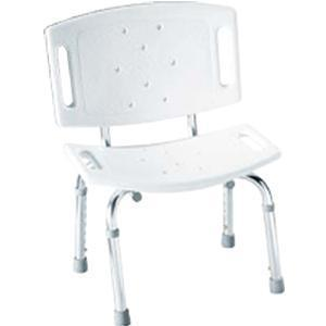 Home Care® By Moen® Glacier Shower Chair 17 To 21 H White, Built In Drainage System, Heavy–duty Anodized Legs