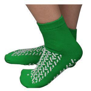 Double Tread Patient Safety Footwear Xxl, Green, Interior Terrycloth