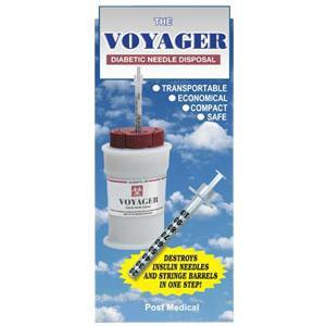 Post Medical Voyager® Portable Diabetic Needle Disposal Unit, 2-3/4 X 1-1/2 X 4-3/4, 2-6/7 Oz. Weight